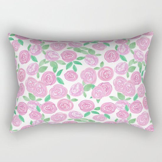 Pale pink roses . Watercolor . Rectangular Pillow