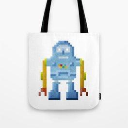 Blue pixel robot #1 Tote Bag