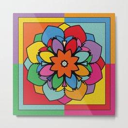 Happy Colorful Mandala Flower Illustration Metal Print