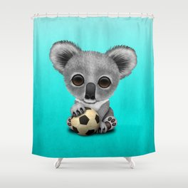 Cute Baby Koala With Football Soccer Ball Shower Curtain