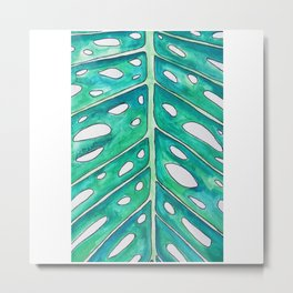 Monstera Leaf Close-Up Watercolor Painting — Monstera Plant Macro Painting Metal Print