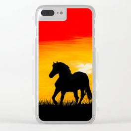 Horse At Sunset Clear iPhone Case