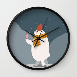 Polar bear with icecream Wall Clock