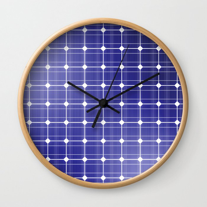 In charge / 3D render of solar panel texture Wall Clock