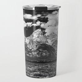 Mountain Summer Escape - Black and White Tetons Travel Mug