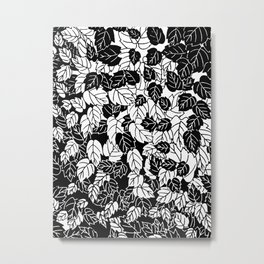 Japanese Leaf Print, Black and White Metal Print