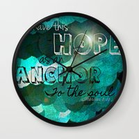 bible verse Wall Clocks featuring Anchors- Bible Verse by Mermaid94