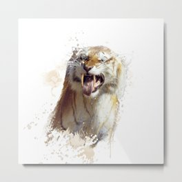 sabertooth tiger portrait watercolor Metal Print