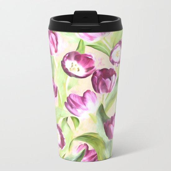 Deep Magenta Tulips on Creamy Peach Metal Travel Mug