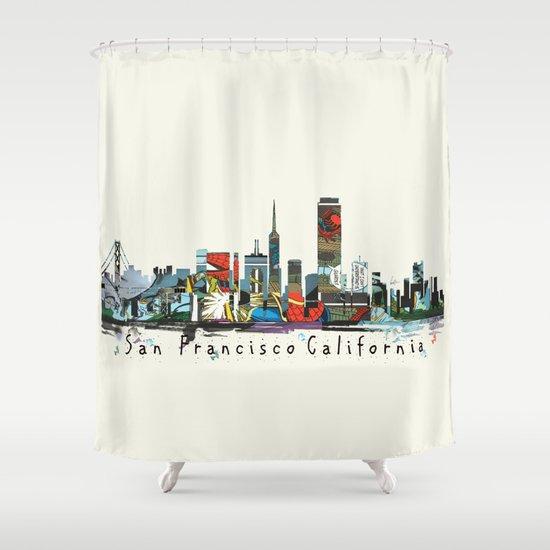 Curtains Ideas comic shower curtain : san francisco skyline comic Shower Curtain by Bri.buckley | Society6