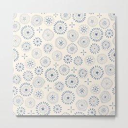 indigo stamp style pattern Metal Print