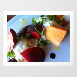 Burrata and Peaches Art Print