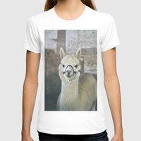 alpaca T-shirts featuring White Alpaca  by Laura Ruth