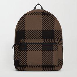 Mocha Brown Gingham Plaid Pattern Backpack