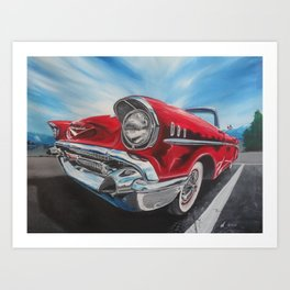 Red 57 Bel Air Convertible oil and acrylic painting Art Print