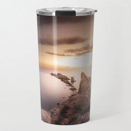 Sunset Coast, Waves and Rocks Travel Mug