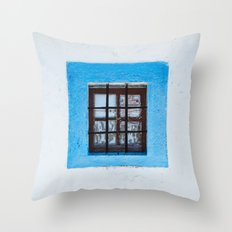 The blue window Throw Pillow