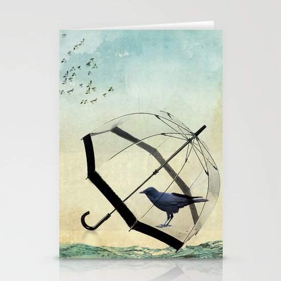 Black rain Stationery Cards