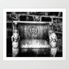 Black and White Medusa and Lion Bench Peles Castle Romania Art Print
