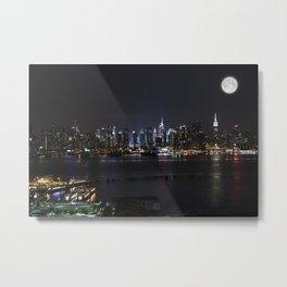 New York Supermoon Metal Print