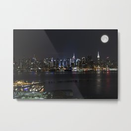 New York Supermoon Metal Print
