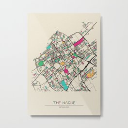 Colorful City Maps: The Hague, Netherlands Metal Print