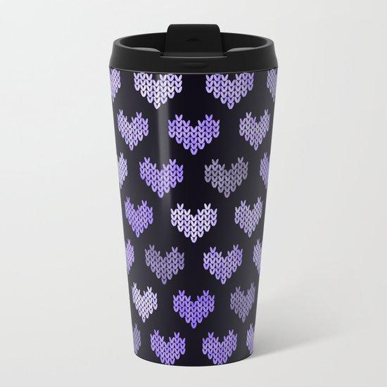 Colorful Knitted Hearts V Metal Travel Mug