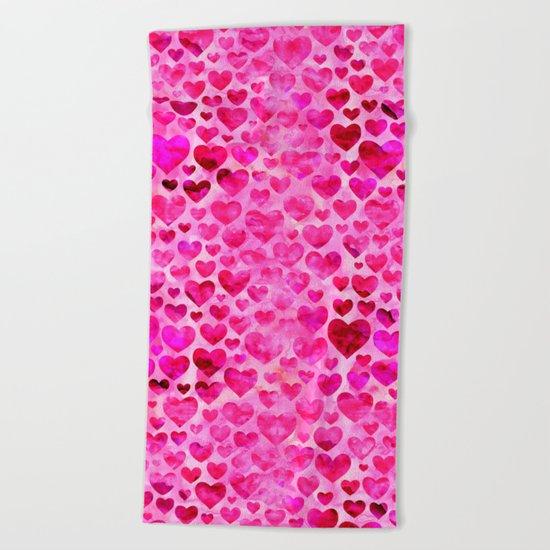 Heart Pattern 07 Beach Towel