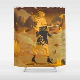 fire titan elemental creature Shower Curtain