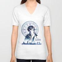 sherlock V-neck T-shirts featuring Sherlock by Jackie Sullivan