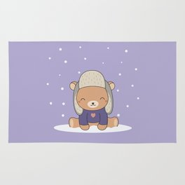 Kawaii Cute Winter Bear Rug
