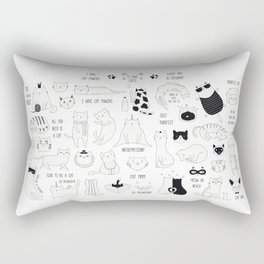 Cute Cat Doodles Cats Black and White Rectangular Pillow