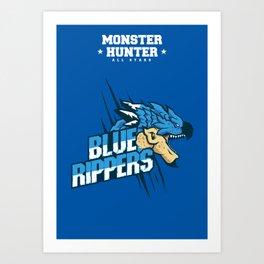 Monster Hunter All Stars - Blue Rippers Art Print