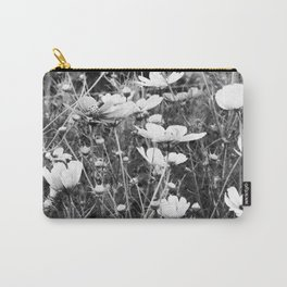 Cosmos flowers  are freely flowering - Black and White Photography Carry-All Pouch