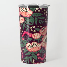 11 Floral pattern with peonies.Bright pink flowers. Dark violet background. Travel Mug