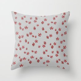Peppermint Candy in Grey Throw Pillow