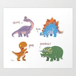 Potty Mouth Dinos Group Art Print