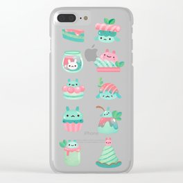 Choco Mint Rabbit Clear iPhone Case