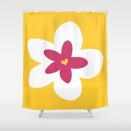 Pink Plumeria (Yellow) Shower Curtain