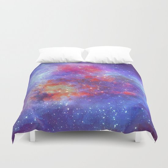 Heart on Universe Duvet Cover