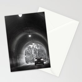 Travel photography through the tunnel black & white Stationery Cards