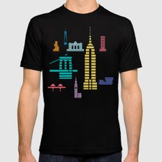 New York Skyline Empire State Poster Black Mens Fitted Tee Black MEDIUM