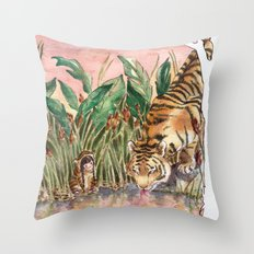 Thirsty Tigers Throw Pillow