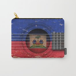 Old Vintage Acoustic Guitar with Haitian Flag Carry-All Pouch