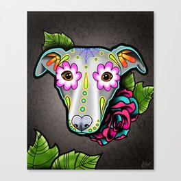 Greyhound - Whippet - Day of the Dead Sugar Skull Dog Canvas Print