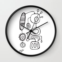 Orbs N Lines - Feather Flower Chime Wall Clock