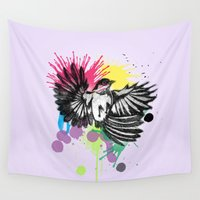 wesley bird Wall Tapestries featuring bird  by mark ashkenazi
