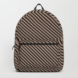 Warm Taupe and Black Stripe Backpack