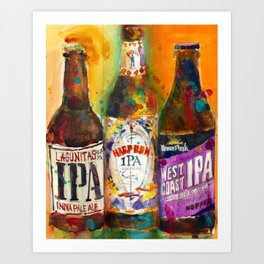 Lagunitas IPA, Harpoon IPA, West Coast IPA Beer Art from Original Watercolors Art Print