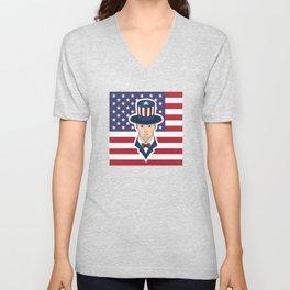 Uncle Sam - patriotic cartoon Unisex V-Neck